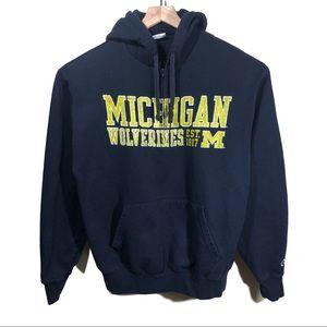 Vtg 90s Champion Michigan Wolverines Hoodie Size L